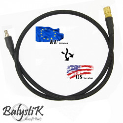 Balystik adapter EU - US 8mm black braided line for HPA regulator -