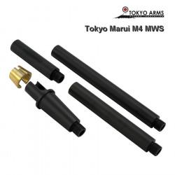 Tokyo Arms Multi-Length CNC Outer Barrel for Tokyo Marui M4 MWS - Black - Powair6.com