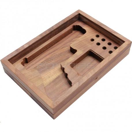RA TECH walnut wooden case + glass for Glock 17 / 18C -