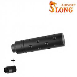 SLONG AIRSOFT Silencieux 14mm CCW Short AERO + adaptateur 11mm -