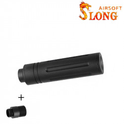 SLONG AIRSOFT Silencier 14mm CCW Short LINE + Adapter 11mm -