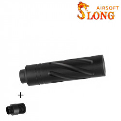 SLONG AIRSOFT Silencier 14mm CCW Short SPINE + Adapter 11mm -