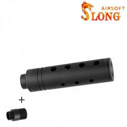 SLONG AIRSOFT Silencieux 14mm CCW Short APERTURE + adaptateur 11mm -