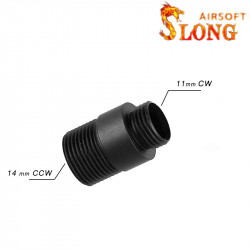 Slong airsoft Adaptateur silencieux 1mm CW vers 14mm CCW