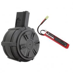 G&G chargeur drum électrique 2300 billes pour M4 avec batterie -