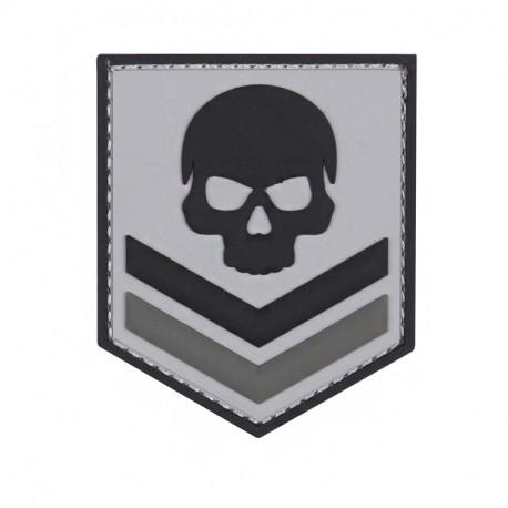 PVC Skull, grey Velcro patch -