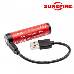 Surefire 18650B Micro USB Lithium Ion Rechargeable Battery type CR123A -