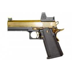 Nuprol RAVEN hi-capa 4.3 full metal gas GBB with BDS red dot - black / Gold -