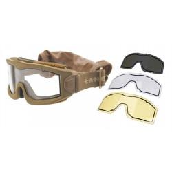 Lancer Tactical Thermal Mask AERO Tan with 3 lenses -