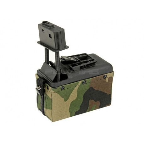 A&K 1500 Round Box Magazine for M249 - Woodland -